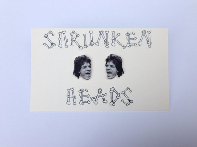 mick jagger shrunken heads earrings