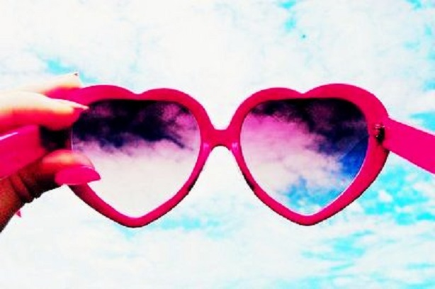 sticky sweet red heart sunglasses beach